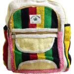 Рюкзак из конопли с боковыми карманами, цветной этностиль, 27×34 см, производство Непал; Backpack Pure Hemp, Color Ethnostyle, 27×34 сm, Nepal