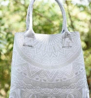 Хлопковая сумка с принтом Мандала, Cotton Mandala Bag White, Handmade