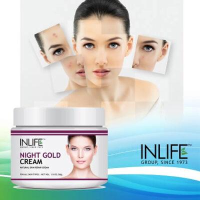 Ночной антивозрастной крем для лица (50 г), Night Gold Face Cream, Anti Aging, произв. INLIFE