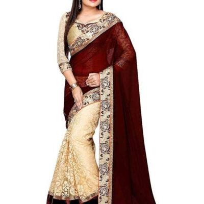Индийское шикарное сари украшенное золотой вышивкой, каймой, стразами