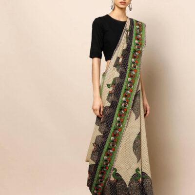 Сари с индийским рисунком, Printed Kalamkari Cotton Saree