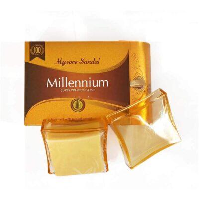 Аюрведическое натуральное сандаловое мыло Милленниум, 150 г, производитель Карнатака Сопс; Mysore Sandal Millennium Super Premium Soap, 150 g, Karnataka Soaps