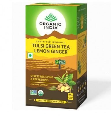 Зеленый чай с Тулси, Лимоном и Имбирем: для снятия стресса и усталости (25 пак, 1.8 г), Tulsi Green Tea Lemon Ginger, произв. Organic India