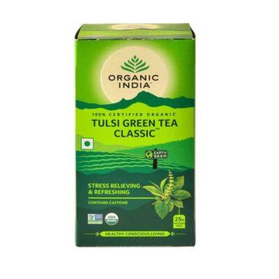 Зеленый чай с Тулси: для снятия стресса и усталости (25 пак, 1.74 г), Tulsi Green Tea Classic, произв. Organic India