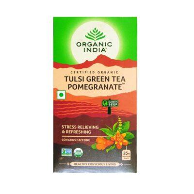 Зеленый чай с Тулси и Гранатом: от усталости и стресса (25 пак, 2 г), Tulsi Green Tea Pomegranate, произв. Organic India