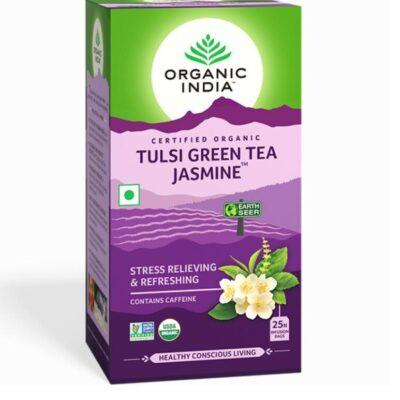 Зеленый чай с Тулси и Жасмином: для снятия стресса и усталости (25 пак, 1.8 г), Tulsi Green Tea Jasmine, произв. Organic India