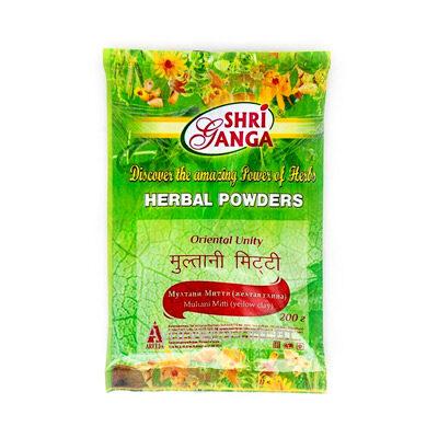 """Порошок """"Мултани Митти"""" (Multani Mitti) желтая глина 200 г, Shri Ganga"""