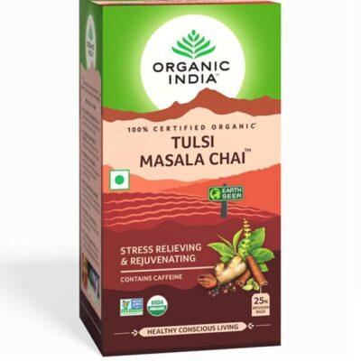 Чай Масала с Тулси: для снятия стресса и омоложения (25 пак, 2.1 г), Tulsi Masala Chai, произв. Organic India