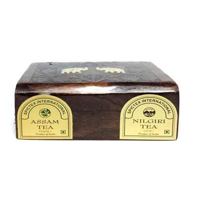 Чай индийский чёрный Assam & Nilgiri в деревянной коробке 2 упак. по 50 г, Bharat Bazaar