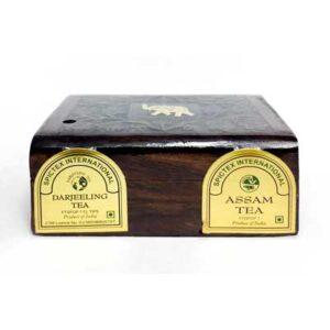Чай индийский чёрный Darjeeling & Assam в деревянной коробке 2 упак. по 50 г, Bharat Bazaar