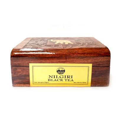 Чай индийский чёрный Nilgiri в деревянной коробке 50 г, Bharat Bazaar