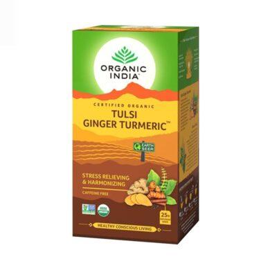Чай с Тулси, Куркумой и Имбирём: для снятия стресса (25 пак, 1.9 г), Tulsi Ginger Turmeric Tea, произв. Organic India
