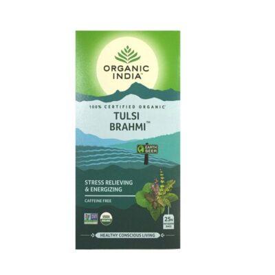Чай с Тулси и Брахми: для снятия стресса и усталости (25 пак, 1.74 г), Tulsi Brahmi Tea, произв. Organic India