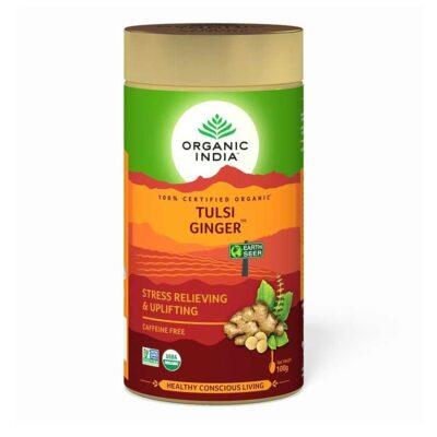Чай с Тулси и Имбирем: для снятия стресса (100 г), Tulsi Ginger, произв. Organic India