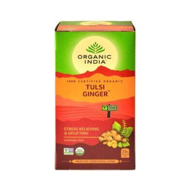 Чай с Тулси и Имбирем: для снятия стресса (25 пак, 1.74 г), Tulsi Ginger Tea, произв. Organic India