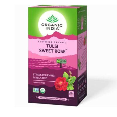 Чай с Тулси и Розой: для успокоения и снятия стресса (25 пак, 1.6 г), Tulsi Sweet Rose, произв. Organic India