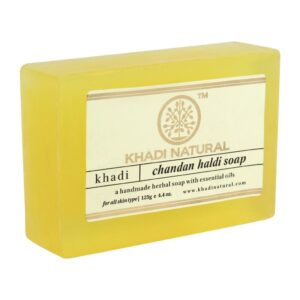 CHANDAN HALDI Handmade Herbal Soap With Essential Oils, Khadi Natural (САНДАЛ КУРКУМА Мыло ручной работы с эфирными маслами, Кхади), 125 г.