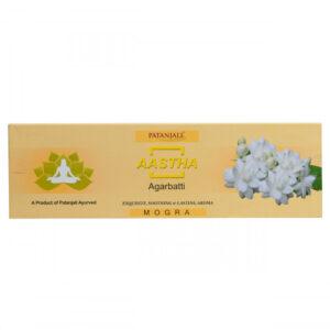 Ароматические палочки Аастха: Могра (75 г), Aastha Agarbatti Mogra, произв. Patanjali