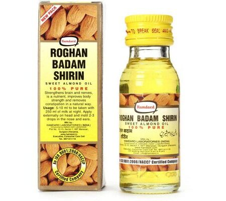 Миндальное масло Рогхан Бадам Ширин, 100 мл, производитель Хамдард; Almond Oil Roghan Badam Shirin, 100 ml, Hamdard