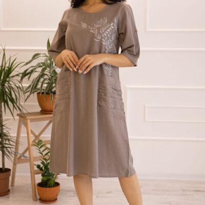 Платье (хлопок) с вышивкой №20-332-1 4шт.уп