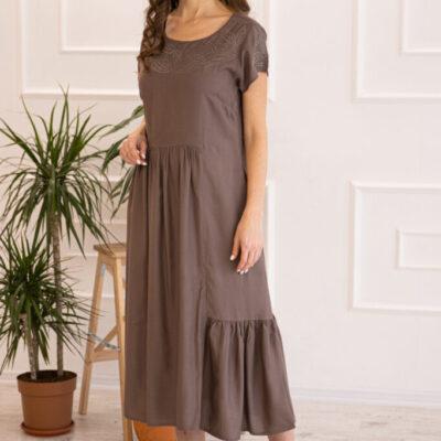 Платье (вискоза) с вышивкой №20-352-3 4шт.уп