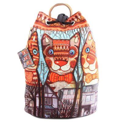 Сумка-рюкзак хлопок с декор. отделкой № АВ4505