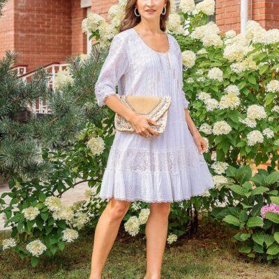 Платье-туника (хлопок) с кружевом №19-176